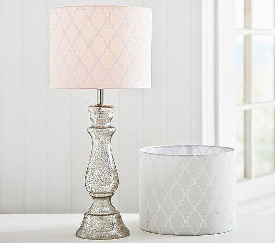 Pink lampshade and camilla silver lamp base addison drum shade find this pin and more on spring inspired nursery pottery barn kids