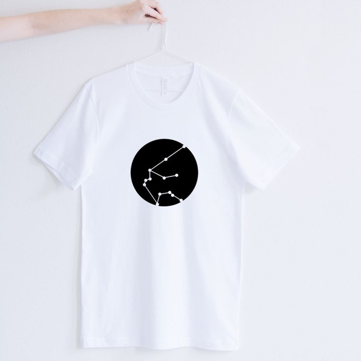 Men's T-shirt Aquarius Zodiac Astrological Star Constellation White Black Geometric Graphic Minimalist Modern Stylish Hipster Cotton funny t shirts