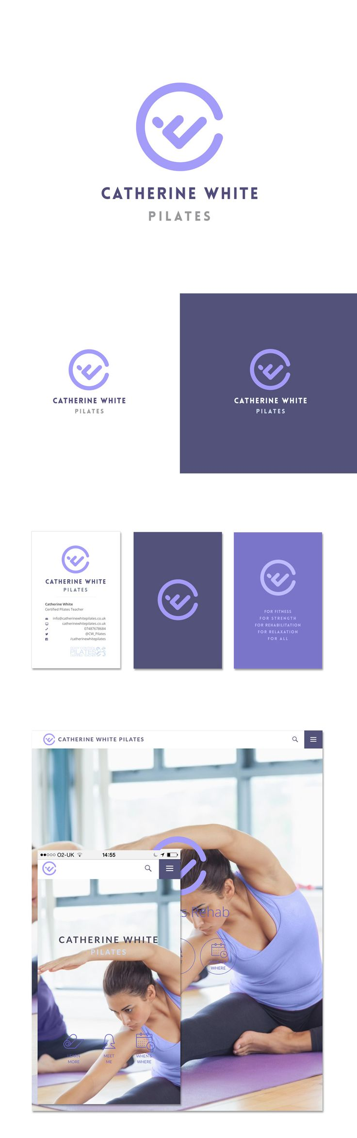 Pilates brand identity design with logo, business cards