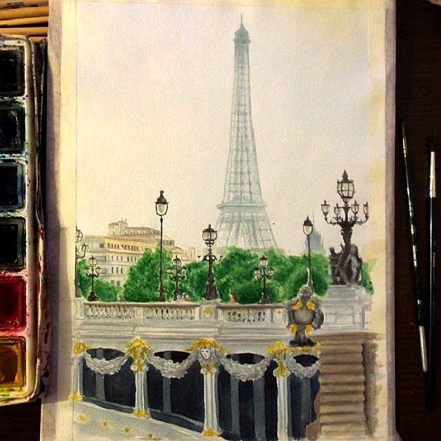 Парижская серия. Мост Александра III и Эйфелева башня #art #paris #watercolour #арт #париж #акварель