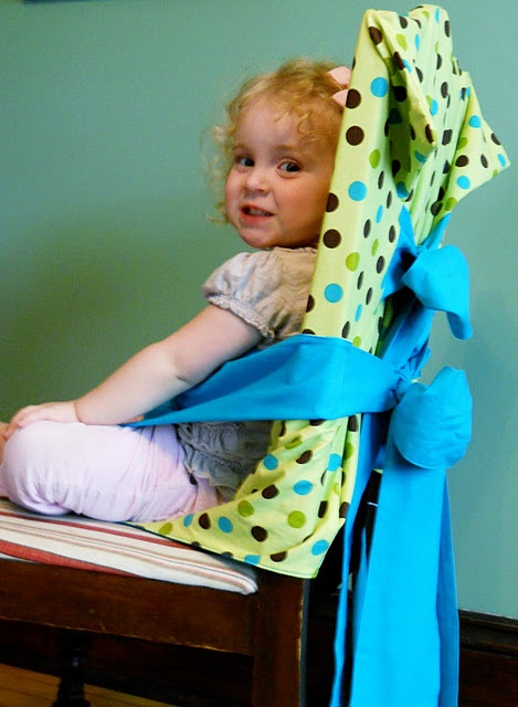 DIY tie-on high chair -- great idea!