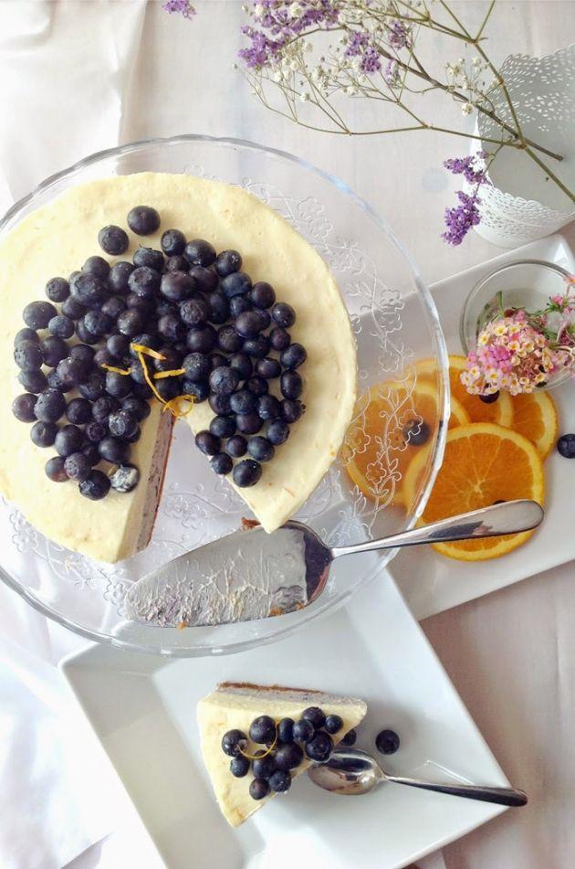 Cheesecake de naranja y arándanos