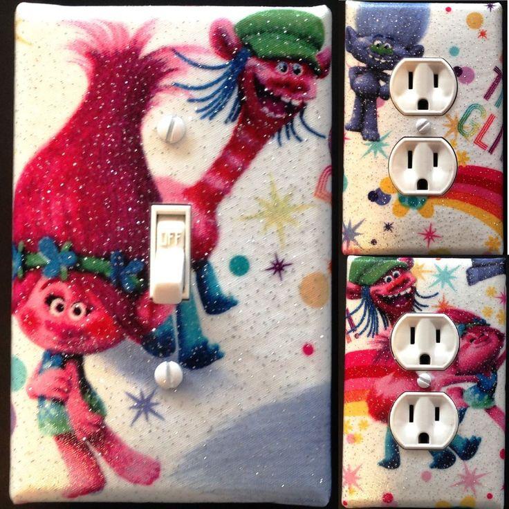 Trolls glitter Light Switch wall plate covers nursery kids room bedroom decor  | eBay