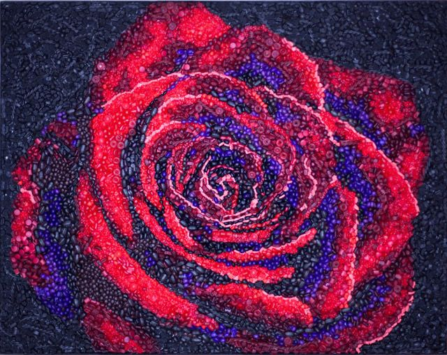 mosaic created from thousands of hand cast resin flowers and candy - kevin champeny: Candy Rose, Rose Mosaics, Mosaics Create, Handcast Flowers, Candy Flowers, Resins Flowers, Hands Cast Resins, Handcast Resins, Kevin Champeni
