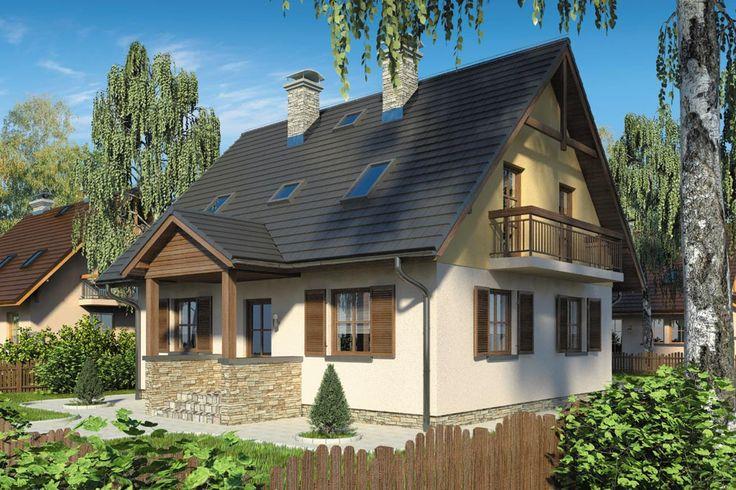 Dwuspadowy dach wzbogacony został zadaszonym wejściem do budynku, tworzącym klasyczny ganek.
