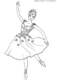 Балерина - скачать и распечатать раскраску. Раскраска ...