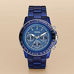 Go Gators: Fossil Stella, Fossil Watches, Blue Watches, Aluminum Watches, Aluminum Chronograph, Fossil Ch2710, Dark Blue, Blue Aluminum, Men Watches