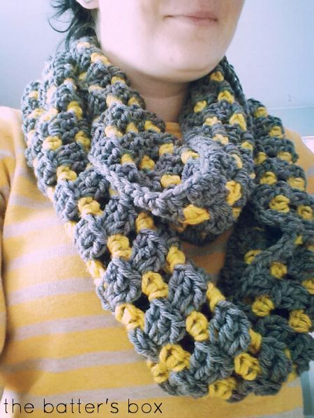 The Carefree Crochet Infinity Scarf    free pattern   The Batter's Box