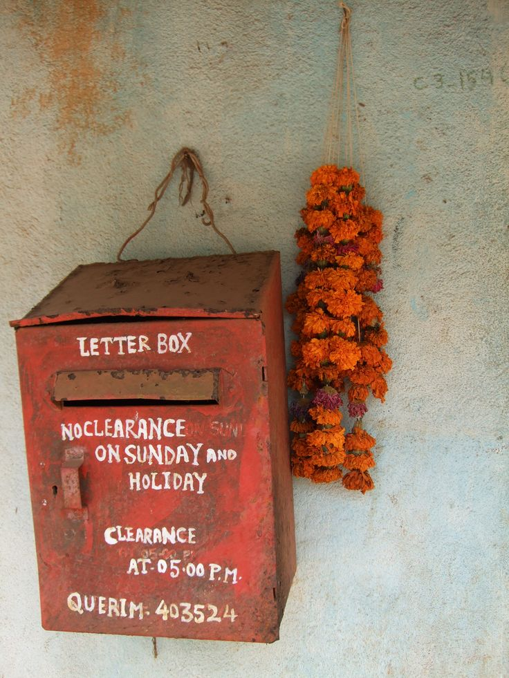Mailbox in a village somewhere in Goa. We still have the postman daily going door to door to deliver the mail.