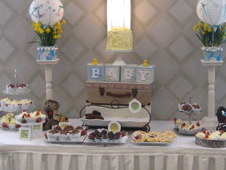 Sweet Table I had for my niece's shower.  I made all the decorations and sweets.  Used hot air balloon idea from pintrest.  Baby Blocks are $ store boxes that I covered.