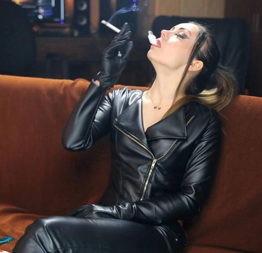 Leather biker shemales