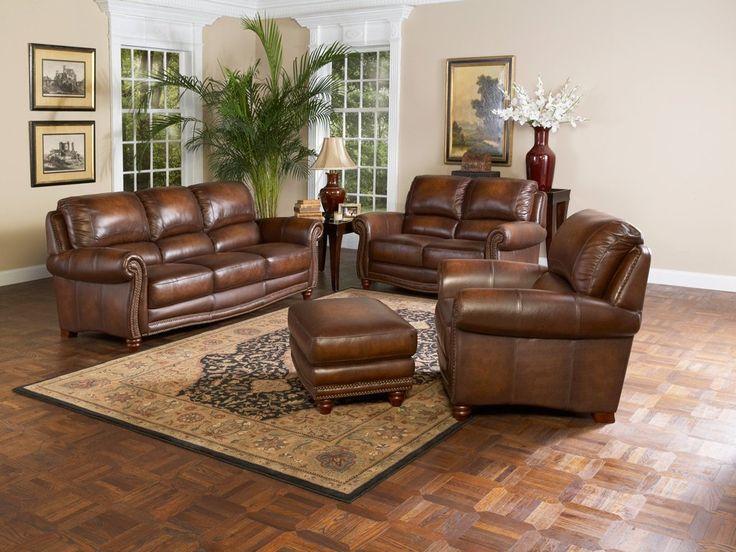Light Brown Leather Living Room Set