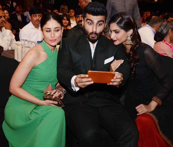 It seems Kareena Kapoor, Arjun Kapoor and Sonam Kapoor had a fun time as the trio was seen indulging in some major bonding at the Yuva Awards show. #Bollywood #Fashion #Style #Beauty #Selfie