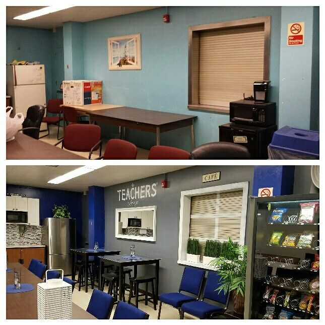 Before After 2 Surprise Teachers Lounge Makeover As A Parting Gift Retiring Teacher And Her Family Transform At NYC Bronx S