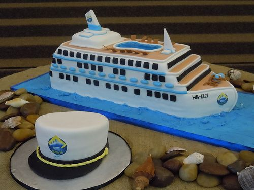 grooms cake cruise themed | Cruise Ship Cake with Captain's Hat