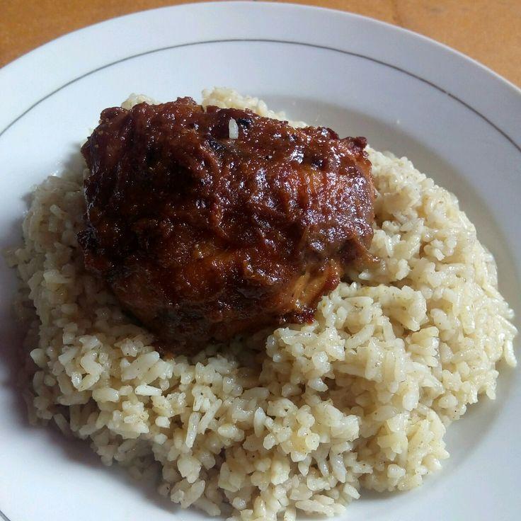 Nasi mandi ikan ayam oven diasap