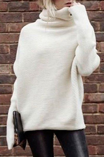 Solid Color Thicken Heaps Collar Sweater WHITE: Sweaters | ZAFUL