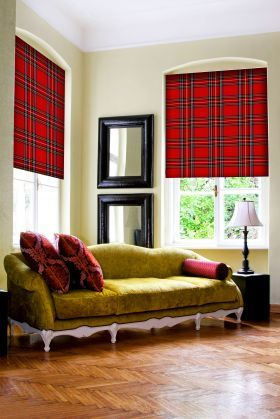 acid green sofa, tartan roller blinds from DigetexHOME.com