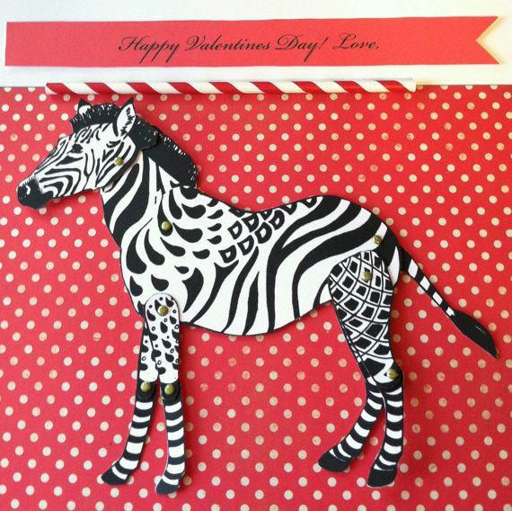 Happy Valentine's Day DIY Zebra Card With Brads By