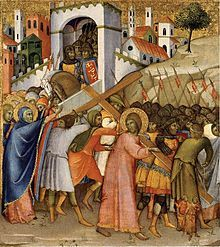 "After being flogged, Jesus was mocked by Roman soldiers as the ""King of the Jews"", clothed in a purple robe, crowned with thorns, beaten and spat on. Jesus then had to make his way to the place of his crucifixion."