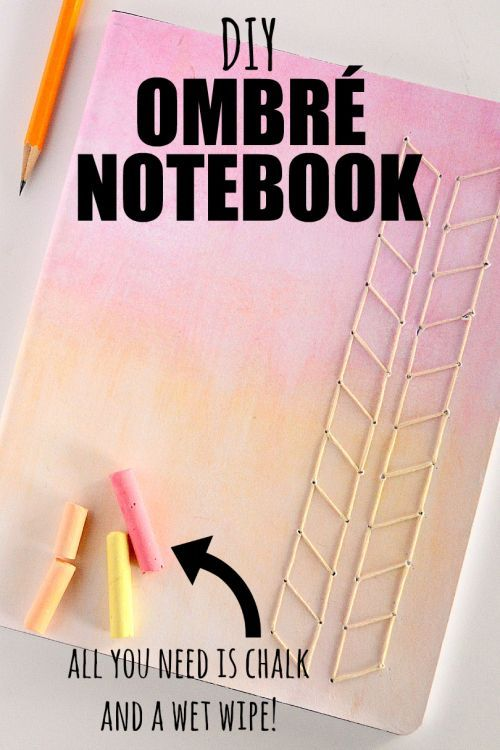 SUPER easy and cute DIY notebook cover! I love ombre colors and this notebook is so easy to make. All you need is paper, chalk, and a wet wipe for either a composition or spiral notebook! I love the threaded embroidered arrow piece as well {video tutorial}