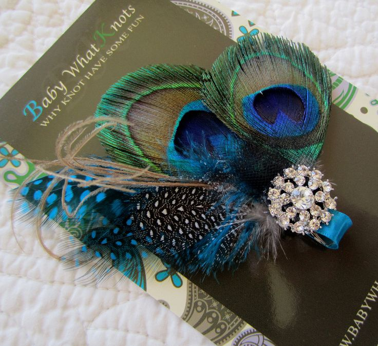Peacock Feather Hair Clip Baby Blue Feather Hair by babywhatknots, $20.00