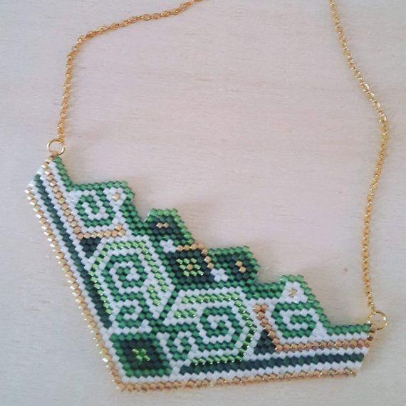 Cathy - Geometric patterns woven miyuki beads necklace