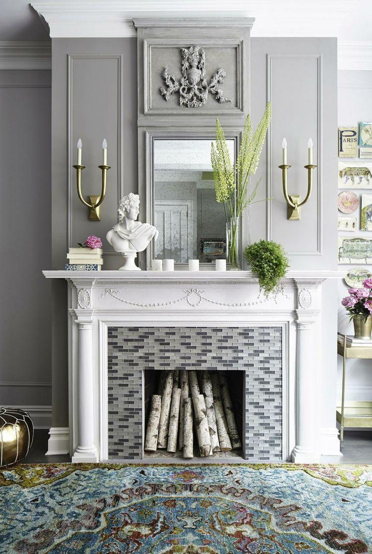 Beautiful Kaminsims Deko Ideen kombiniert mit Wandfarbe Grau