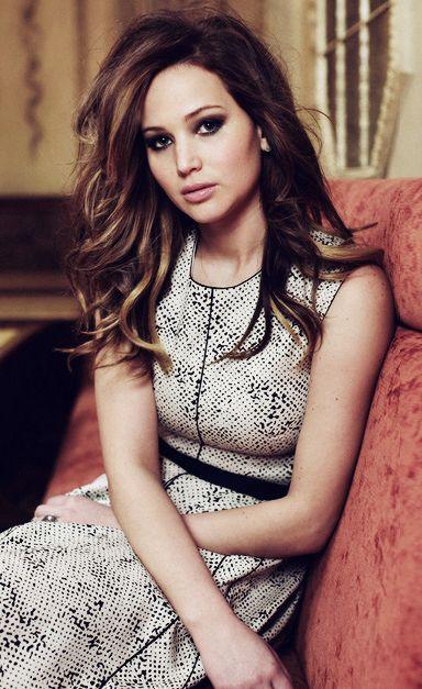 Dark brunette with caramel highlights; Jennifer Lawrence LOVE the cut & color!