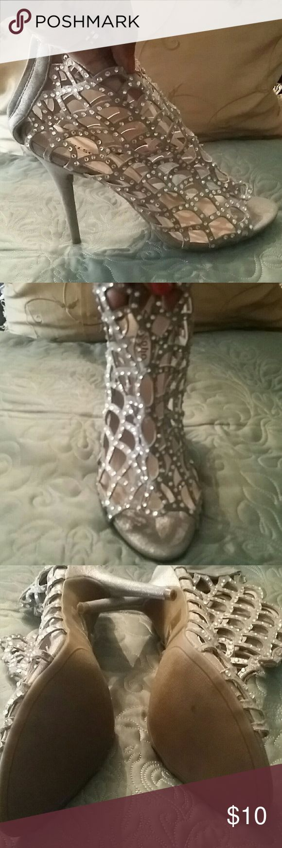 Cage heel sandal Silver with rhinestones 4.5 inch heel Shoes Ankle Boots & Booties