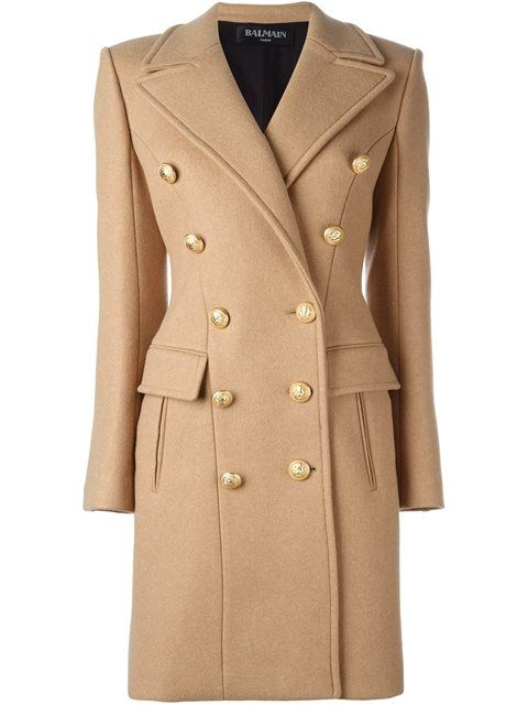 Shop Balmain double breasted coat.
