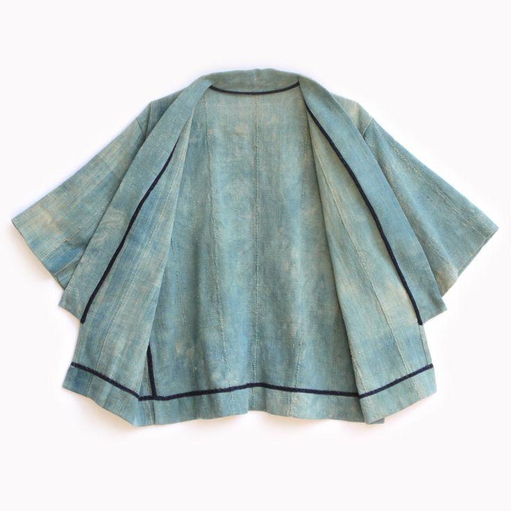 Indigo cotton kimono, clean-finished with cotton binding