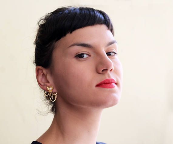 54 etsy - stud and long part  Gold Ear Jacket Earring, Pearl wedding earrings, Bridal earrings, Pearl earrings,  flower earrings, front back earring, Statement earrings