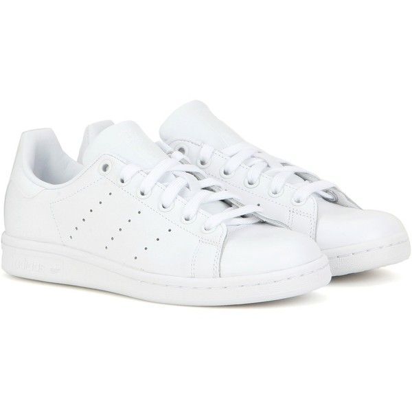 Adidas Stan Smith Leather Sneakers ($106) ❤ liked on Polyvore featuring shoes, sneakers, white, leather trainers, adidas footwear, leather sneakers, white leather shoes and leather footwear