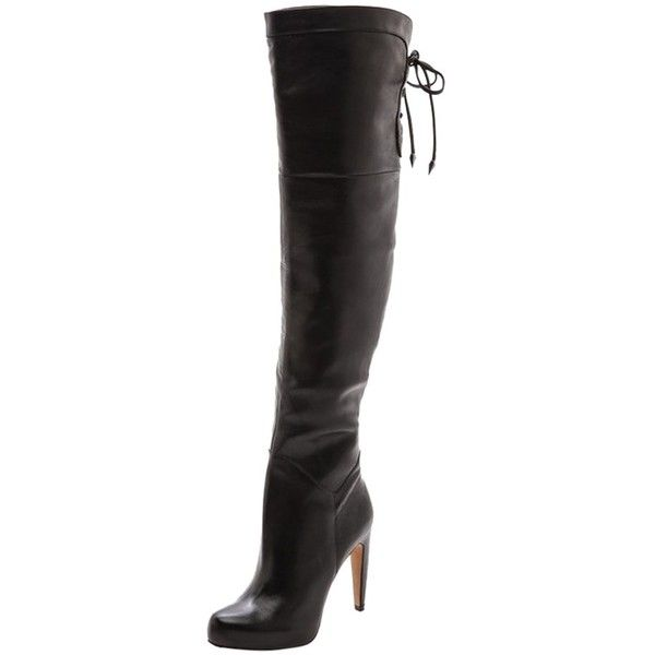 Pre-owned Sam Edelman Leather Over The Knee Black Boots ($141) ❤ liked on Polyvore featuring shoes, boots, black, over knee boots, leather boots, thigh high leather boots, thigh high boots and black boots