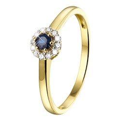 Geelgouden ring met saffier en 12 diamanten - Lucardi.nl