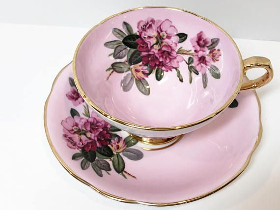 Staffordshire Tea Cup and Saucer Pink Cups Antique Tea Cups