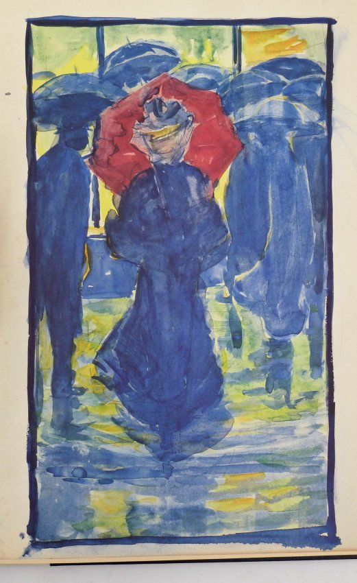 Lot 285- Maurice Prendergast (1858-1924 American) Two Woman with Umbrellas Watercolor on Paper 7.5''x4.5'' Sheet. An impressive graphite and watercolor sketch with his typical painted borders. Signed ''M.B. Prendergast'' ink black ink l.r. corner. Very similar to works in his Boston Public Garden Sketchbook, of which a reproduced copy will be included. Loose, unmounted with strong color. Overall excellent condition. Provenance: Private Collection, Washington. Originally purchased in London.
