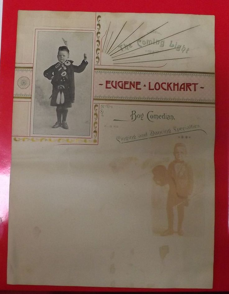 Circa 1898 Eugene Lockhart - Boy Comedian Handbill. (June Lockhart's Father)