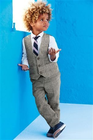 Buy Signature White Shirt, Grey Linen Blend Waistcoat And Tie Set (3mths-6yrs) from the Next UK online shop