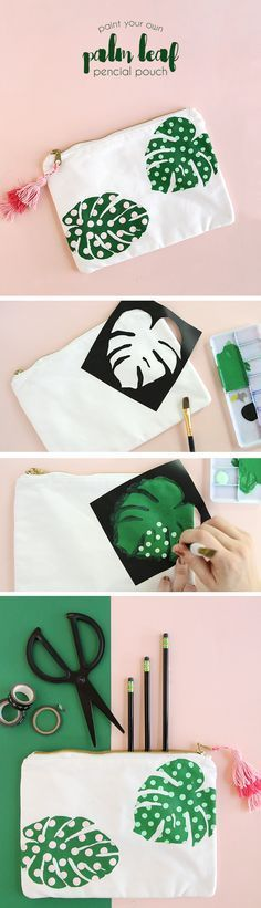 Make your own palm leaf pencil pouch! Easy to do with Americana Multi-Surface paint and a vinyl stencil. Click for the free template! #decoartprojects (Diy Shirts)