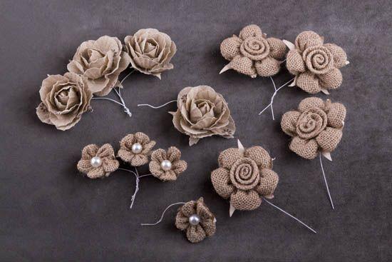 Λουλούδια από λινάτσα με σύρμα NewMan   bombonieres.com.gr