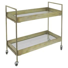 "Showcasing 2 tiers and a gold finish, this wheeled cart brings vintage-chic appeal to your living room or home bar.  Product: CartConstruction Material: MetalColor: GoldFeatures: Two tiersDimensions: 32.25"" H x 31.75"" W x 14"" D"