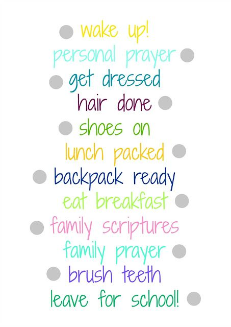 before school morning routine checklist printable - little house