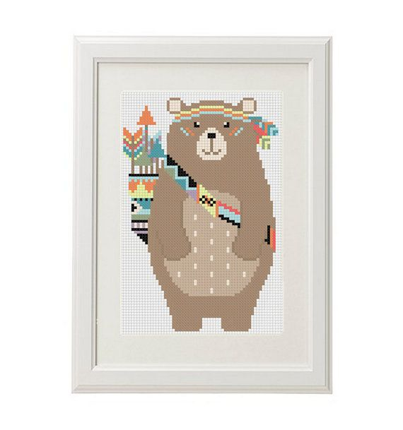Bear Cross Stitch Pattern animal bear Forest animals Baby Cross stitch Bear arrow feathers pens ethnic design pattern boho crossstitch