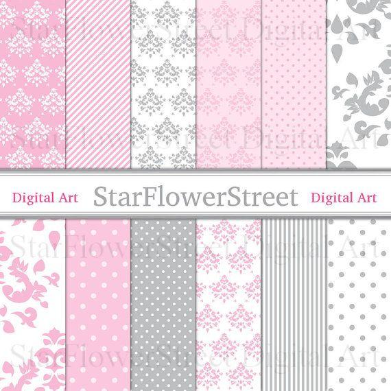 "Pink Damask Digital Paper ""PINK DAMASK"" Printable Scrapbook Paper Gray Polka Dot Stripe Scrapbooking patterns baby grey bridal baby shower by StarFlowerStreetDA"