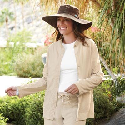 Women's Mandarin Collar Jacket - Solumbra: All Day 100+ SPF Sun Protective Clothing - Style# 19300