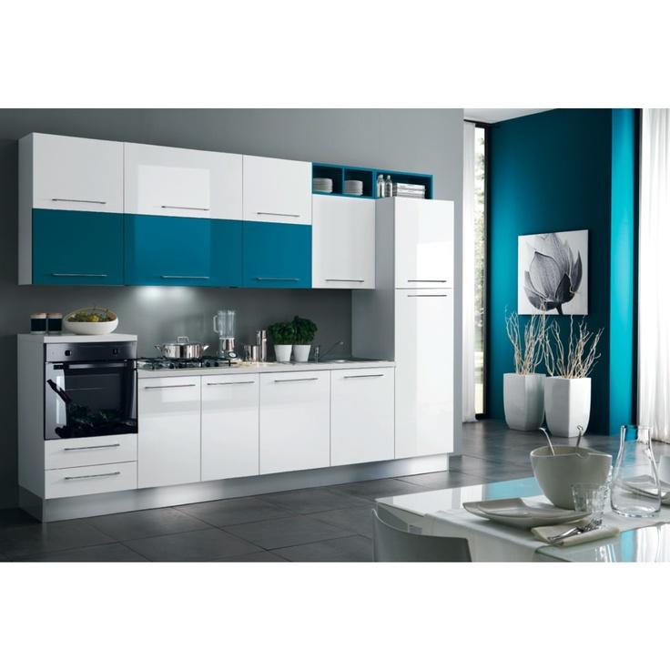 Cucina Eli  Bianco lucido e blu oceano