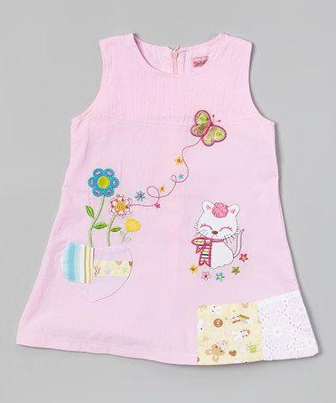Another great find on #zulily! Pink Cat & Flower Dress - Infant, Toddler & Girls by Hi-D #zulilyfinds