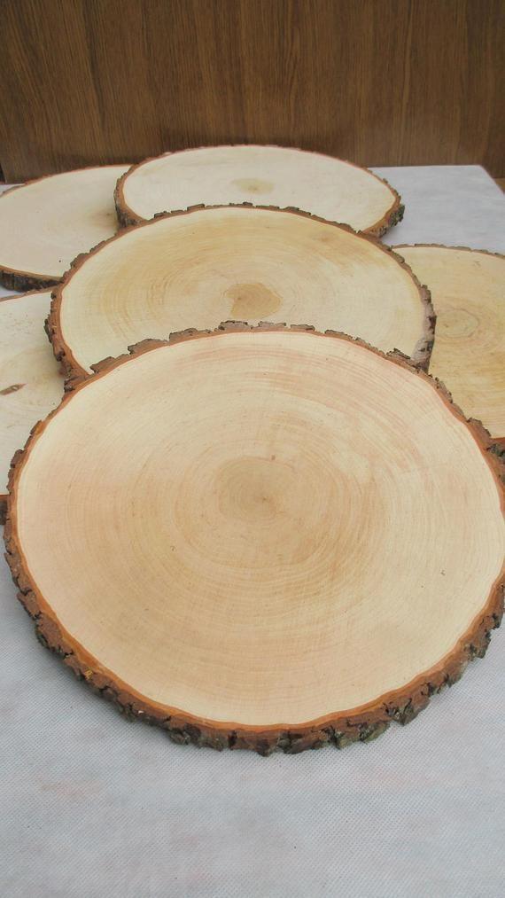 14 15 Large Alder Wood Slice 14 15 Inch Wood Slice Large Wood Slab Wood Platter Rustic Wedding Decor Cake Stand Wedding Centerpiece In 2020 Wood Slices Wood Centerpieces Large Wood Slices
